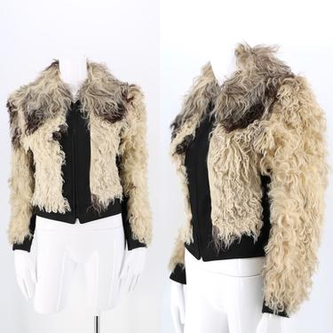 70s Mongolian lamb shaggy fur jacket / vintage 1970s black & white curly lamb cropped jacket size S 4-6 by ritualvintage