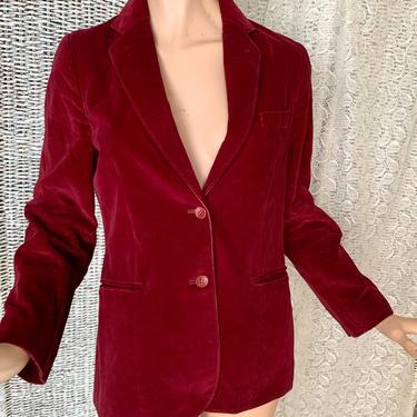 Vintage 70s Velvet Blazer, Jacket, Burgundy Color, L-XL by GabAboutVintage