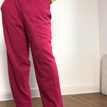 Vintage 1980s 1990s Hot Pink Wool Trousers Pants High Waist Pleat Front Tapered Minimal Lined Knit Slacks Dana Buchman Large Stretch Waist by KeepersVintage