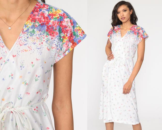 Floral Midi Dress 70s Wrap Dress White Boho Chic Cap Sleeve 1970s Deep V Neck Bohemian Vintage High Waist Retro Small Medium by ShopExile