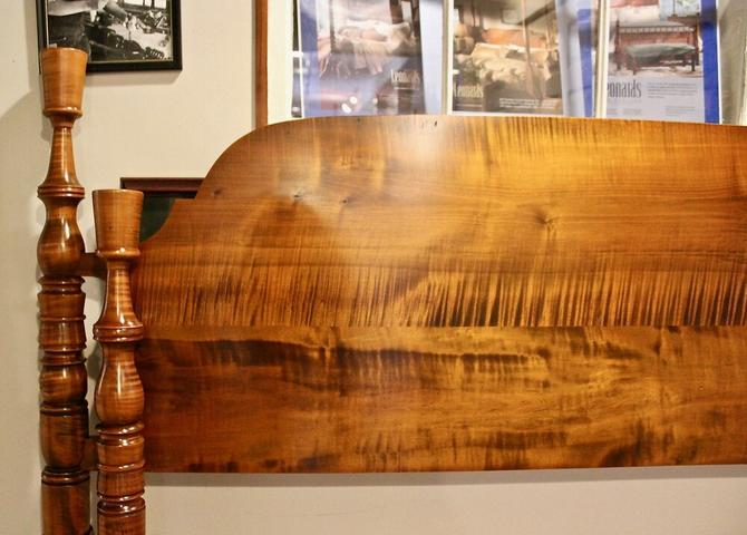 Delicate Thistle Top & Sheaf of Wheat Bed in Tiger Maple, Original Posts Circa 1820, Resized to Queen