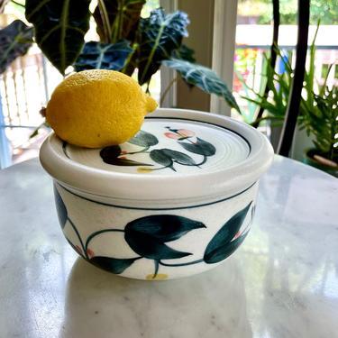 Vintage Asian Lidded Rice or Soup Bowl, Hand Painted, Ceramic, Signed - Black Peach Floral Flower Design, Serving, Leftovers Storage by VenerablePastiche