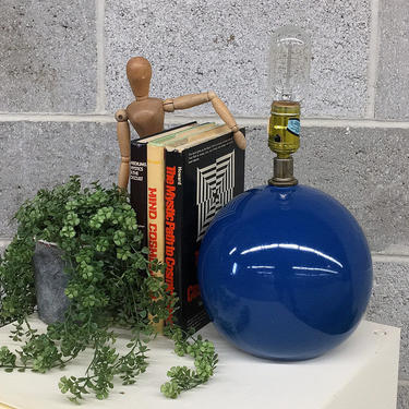 Vintage Table Lamp 1980s Contemporary Style + Blue + Round + Ceramic + Table Lamp + Mood Lighting + Home and Table Decor by RetrospectVintage215