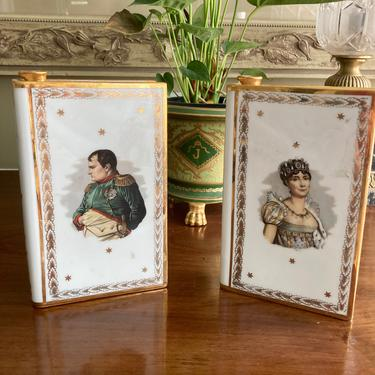 Napoleon and Josephine Limoges Porcelain Book Decanters by RavenPearVintage