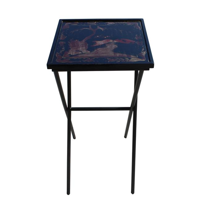 Matte Gold Black Graphic Square Tray Table Cross Metal Leg Base cs5786S