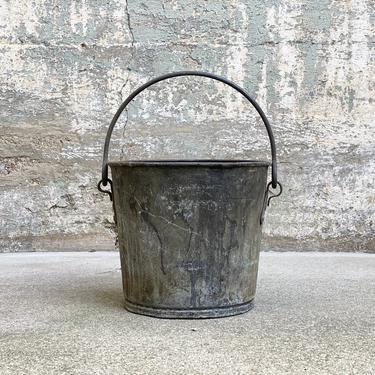 Vintage Industrial Heavy Duty Bucket Riveted Factory Salvage by NorthGroveAntiques
