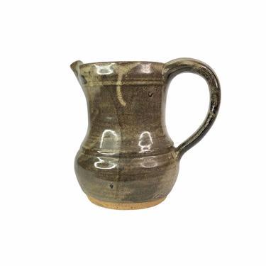 Vintage Brown Handmade Stoneware Studio Pottery Pitcher by Northforkvintageshop