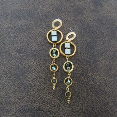Long brass geometric earrings, brutalist earrings, mid century modern earrings, bold statement earrings, teal hematite earrings, by Afrocasian