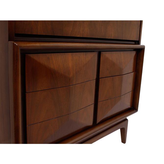 Kagan Style Tall Walnut Diamond Dresser / Chest