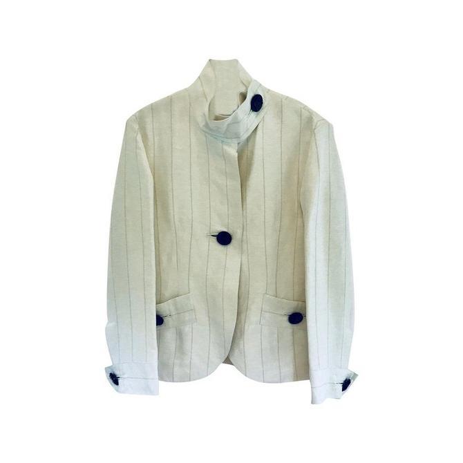 Georgio Armani White Pinstripe Linen Jacket Sz 42 by MetronomeThreads