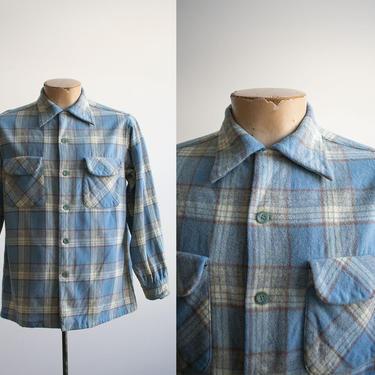 Vintage 1960s Blue Plaid Pendleton Shirt / Vintage Pendleton Button Down / 1960s Pendleton Medium / Blue Pendleton Medium / Vintage Fall by milkandice