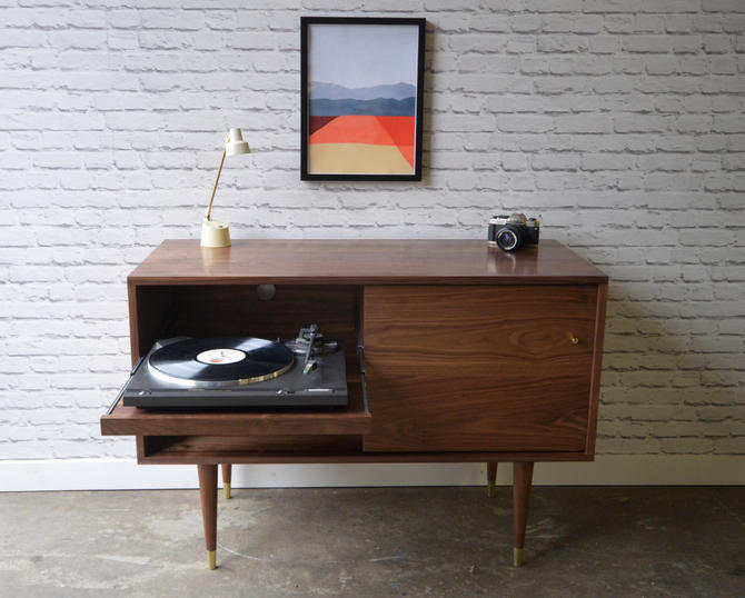 Whitewater Record Cabinet with Pull-out Shelf - Solid Walnut - Custom For Michael by STORnewyork
