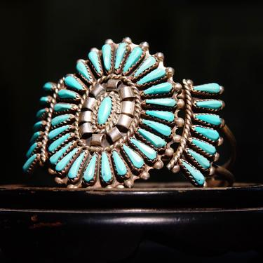 """Vintage Zuni Native American Sterling Silver Needlepoint Turquoise Cuff, Signed JHN, Silver Cuff Adorned W/ 41 Turquoise Stones, 5 1/2"""" L by shopGoodsVintage"""