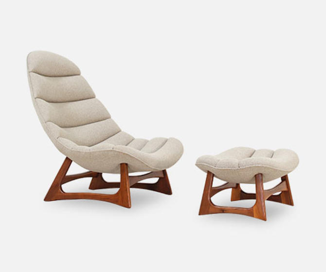 Adrian Pearsall Channel Tufted Lounge Chair with Ottoman for Craft Associates