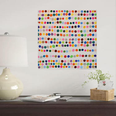 Custom Order for Abbieh6 Decreased Size Original Dots Multi Colors & White Canvas Painting Abstract Minimalist Modern Contemporary Art by ArtbyDinaD