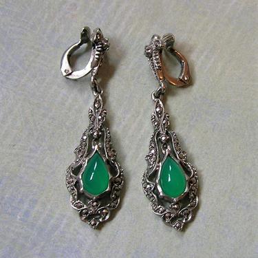 Antique Sterling Art Deco Marcasite Chrysoprase Clip-On Earrings, Art Deco Sterling Earrings, Sterling Earrings  (#3359) by keepsakejewels