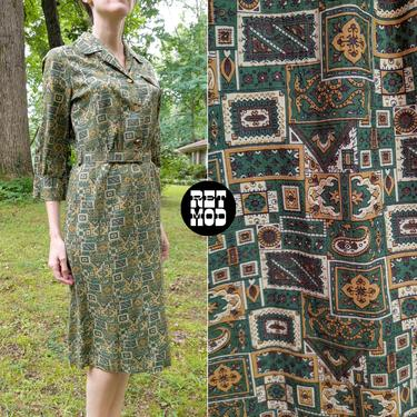 Comfy Cool Vintage 50s 60s Green Mustard Yellow Paisley Squares Printed Cotton Day Dress by RETMOD