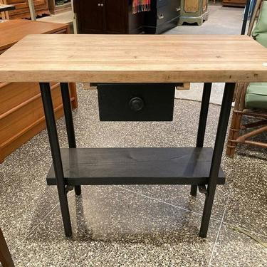 """Butcher block top work space, with a drawer and metal legs. 36"""" x 17"""" x 32"""""""