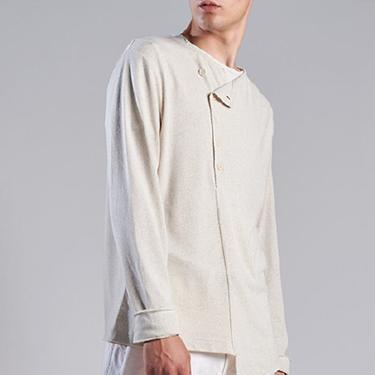 Recycled Fibers Asymmetric Long Sleeve Top in TOAST Only