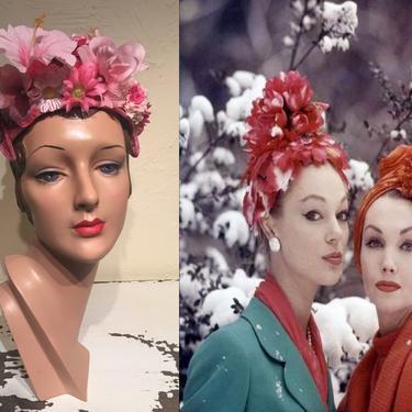 Blooms Even in Winter - Vintage 1950 1960s Hot Pink Fuchsia Petal Pink Floral Fascinator Caplet Hat by RoadsLessTravelled2