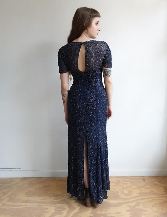 Vintage 80s Does 30s Beaded Sequin Gown/Navy Blue Silk Formal Long Dress with Soutache Beading/ Short Sleeve Deco / Small by bottleofbread