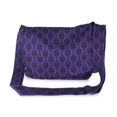 Purple Damask Messenger Bag by VintageGaleria