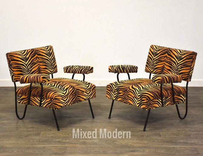 Tiger Print MCM Wrought Iron Lounge Chairs- a Pair by mixedmodern1