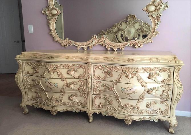 Large RARE Romantic Antique Cream French Rococo Ornate Fancy Bedroom Dresser / Credenza (PureVintageNYC) by PureVintageNYC