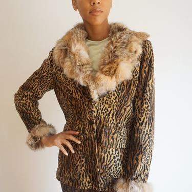 1990s Velvet Italian Made Leopard Print Jacket with Rabbit Fur Collar and Trim by backroomclothing