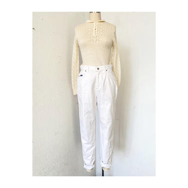Women's Jeans White Sz 8 petite, Vintage Lee jeans White, Mom Jeans, Tapered Leg Jeans by DudaVintage