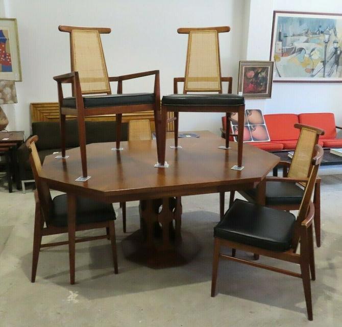 FOSTER-McDAVID WALNUT DINING TABLE & 6 CANE BACK CHAIRS mid century danish set