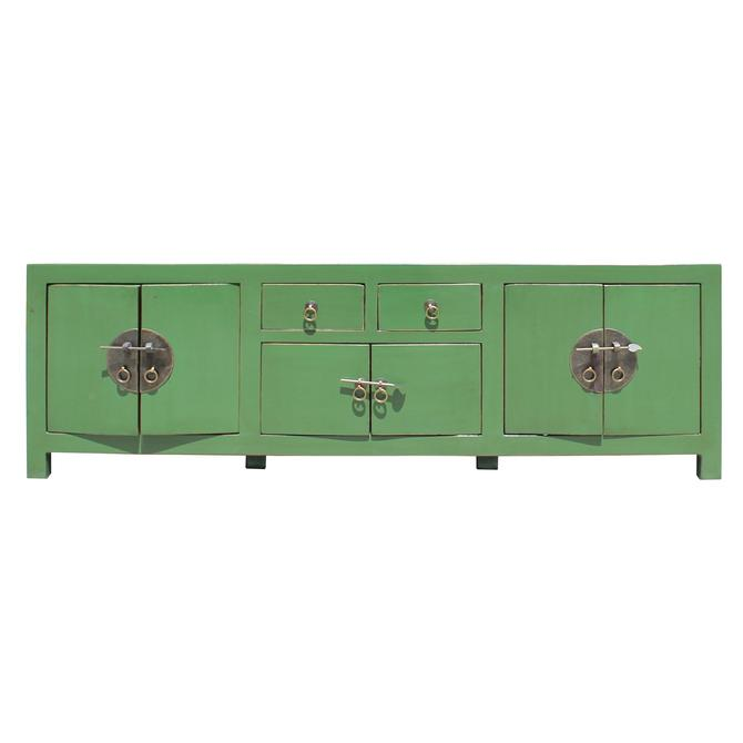 Chinese Distressed Medium Dark Moss Green Low TV Console Table Cabinet cs5119S