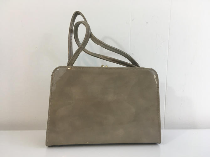 Vintage Theodor California Bag Patent Structured Handbag 1950s 1960s Cocktail Purse Satchel Gray Tan Kisslock Gold by CheckEngineVintage