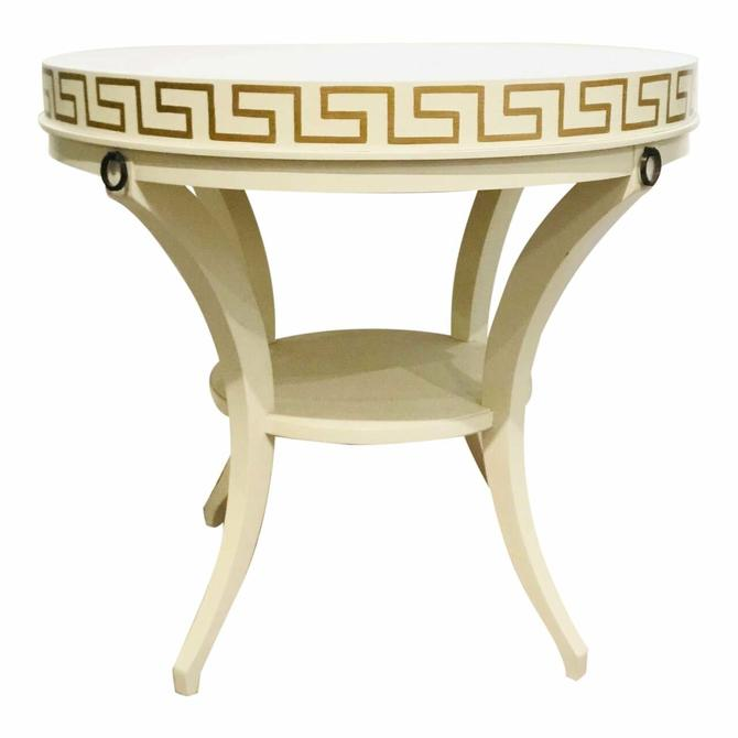 Contemporary Hickory White White and Gold Greek Key End Table