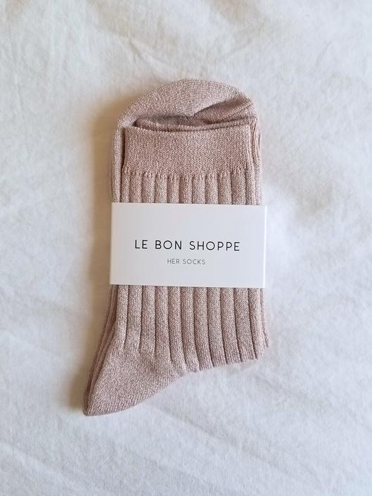 Le Bon Shoppe Her Socks - Rose Glitter