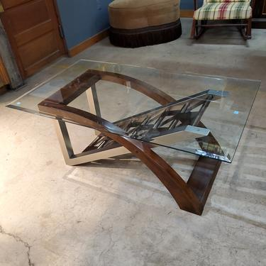 Glass Wood and Steel Coffee Table