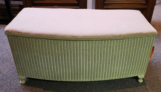 Item #DMC12 Vintage Lloyd Loom Hamper Bench c.1920s