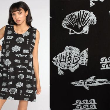 Fish Print Dress 90s Sundress Black Seashell Beach Dress Tropical Mini Sun Dress 1990s Bohemian Vintage Shift Boho Sleeveless Large xl l by ShopExile