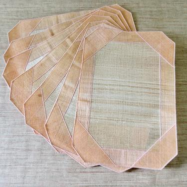 Vintage Placemats - Woven Abaca Placemats - Natural Woven Placemats - Handcrafted Placemats - Peach Placemats - Set of 7 - Boho Decor by SoulfulVintage