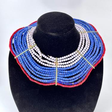 Antique West African Bead Jewelry Necklace Collar Vintage Colors Kenyan Regal Blue Queen by BrainWashington