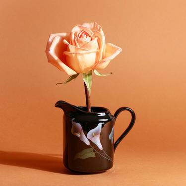 Vintage 80s Black Calla Lily Print Short Jug Pitcher Vase by AppleBranchesVintage