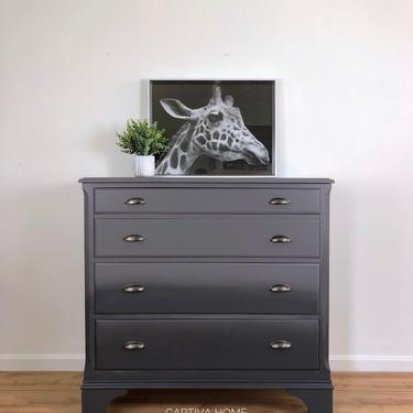 Grey Ombre Blended Painted Dresser, Vintage Furniture, Bureau with 4 drawers, Solid Wood, Cup Pulls, Grey to Charcoal Handprinted finish by CaptivaHomeDecor