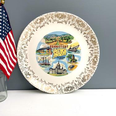 Connecticut state souvenir plate - vintage 1940s road trip souvenir by NextStageVintage