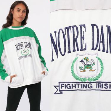 Notre Dame Sweatshirt FIGHTING IRISH Football Shirt University Sweatshirt 80s College Color Block Vintage 90s Raglan Green Medium Large by ShopExile