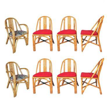 Restored Slat Leg Rattan Dining Chair, Set of 8 by HarveysonBeverly