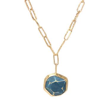 Blue Gray Stoned Enamel Gem Necklace