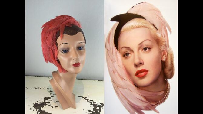 Cotton Club Acts - Vintage 1920s Massive Full Coral Orange Pink Headband Plumes Framing Down by RoadsLessTravelled2