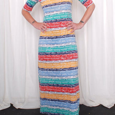 Vintage 1970s All The Names Maxi Dress (Small/Med) by 40KorLess