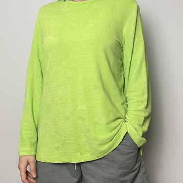 Vintage lime green long sleeve Laura Ashley T-shirt stretchy textured oversized large XL neon highlighter by GRACEandCATS