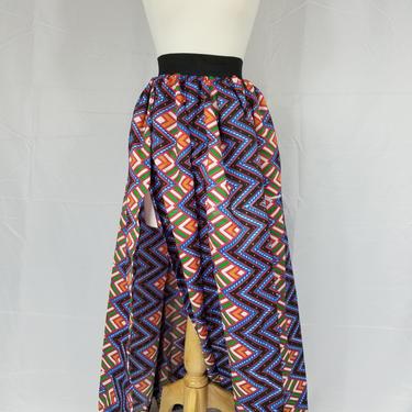 Ankara silk maxi skirt with slit (Blue and orange zig-zag design) by GLAMMfashions